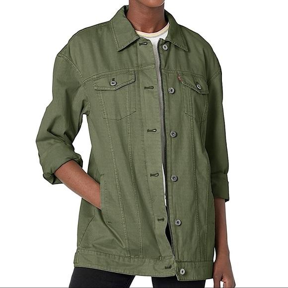 Levi's Oversized Long Trucker Jacket Army Green XL